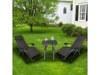 ZERO GRAVITY TEXTILENE STEEL FRAME CHAIRS TABLE SET