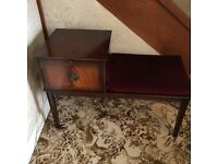 Mahogany telephone seat with rose coloured velvet seat and cupboard. Excellent condition