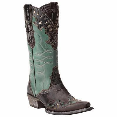 Ariat Western Boots Womens Zealous Wingtip Barnwood Teal Green 10015347