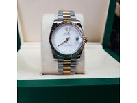 TwoTone Plain White Face Rolex Date Just C9mes Rolex Boxed with Paperwork