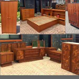 REFINISHED Mid Century Modern Teak Rosewood Dressers,Teak, Walnut Bedroom Set, Headboard w nightstands, Wardrobes