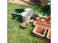 Pots , bird table and tools