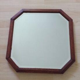 Vintage mirror, bevelled glass, wooden frame