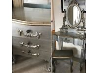 Toulouse Silver Dressing Table & 3 Drawer Chest - French Shabby Chic Style Set