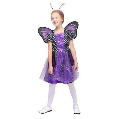 NEW GIRLS TOTALLY GHOUL PURPLE SPARKLE BUTTERFLY DRESS - Purple Butterfly Halloween Kostüm