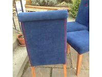 upholstered blue chairs