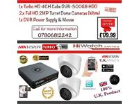 Hikvision HiWatch CCTV, 4CH HikVision Turbo-HD Cube DVR 500GB HDD, 2x Hikvison 1080P Dome Cameras