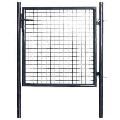 vidaXL Mesh garden Gate Galvanised Steel 85.5x100cm Grey Outdoor Fencing Door