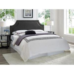 Langford Transitional Upholstered Headboard - Queen Black Model #: UFLOD2HBQKU22BK