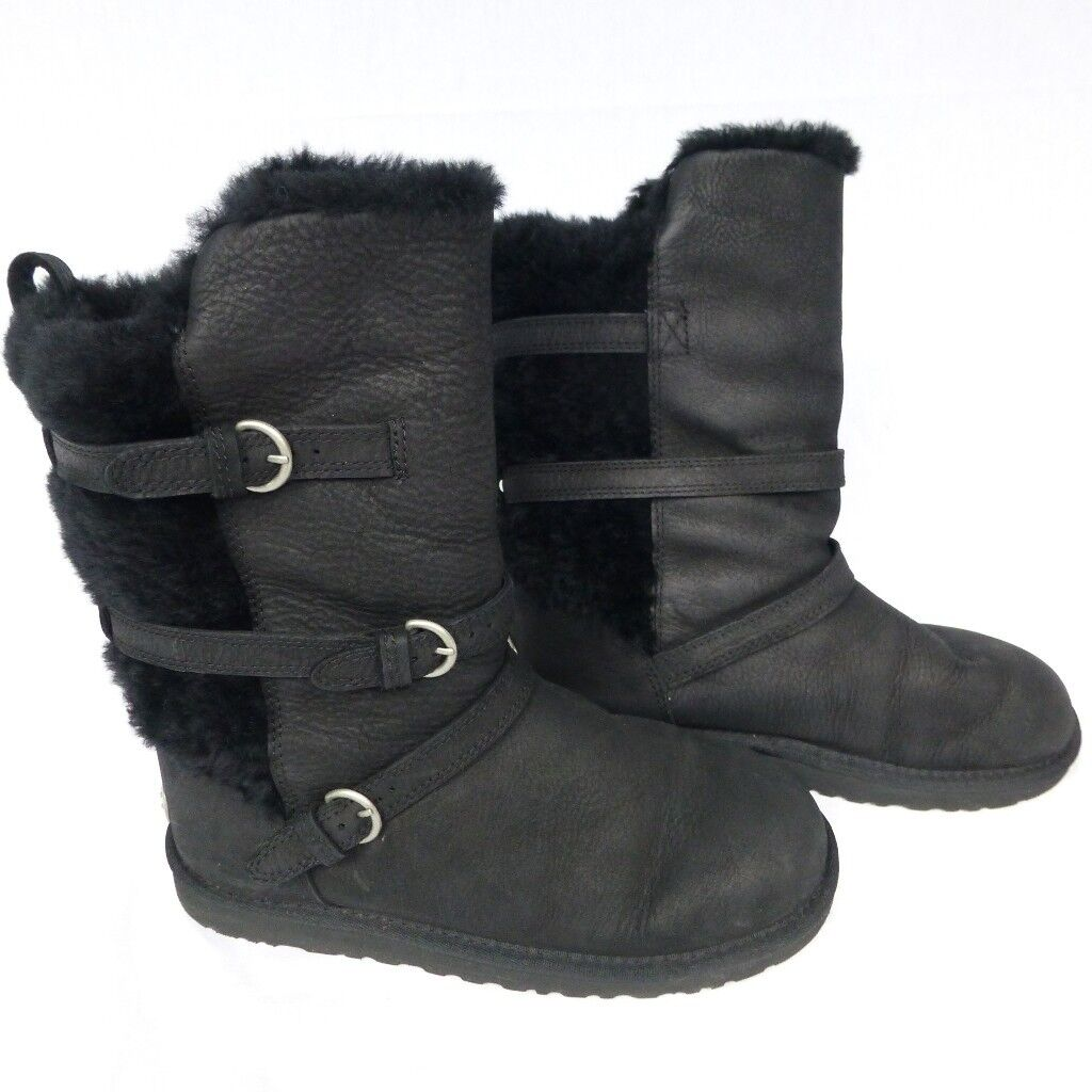 UGG black leather/fur boots size 3 Excellent condition