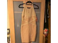 BNWT Flam Mode Gold Bodycon Sexy Dinner Party Cocktail Dress - Size M-L