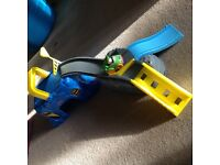 Fisherprice little people bat cave car track with joker and fire engine