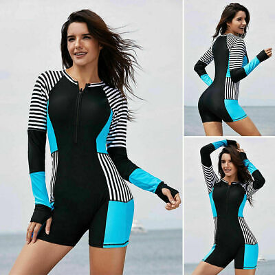 Women Rash guard One Piece Long Sleeve UV Protection Surfing Swimsuit