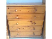 Pine chest of draws - 5 draws good condition