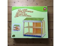 Pintoy Wooden Dolls House Eco lodge+ windcharger +recycling bins+ log burner + plan toys furniture