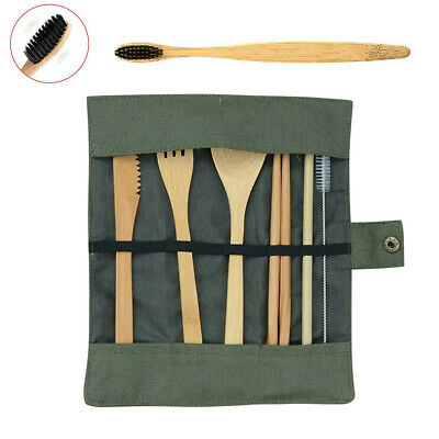 Portable Bamboo Dinner Set Travel Eco-friendly Fork Spoon Set With Carrying Case