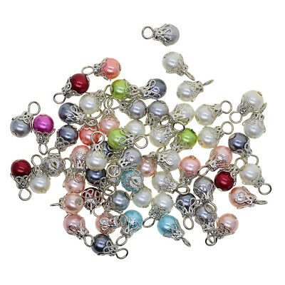 50x Pearl Filigree Flower   Charms Pendant for Jewelry Making DIY Earrings