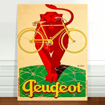 "Vintage Cycle Advertising Poster Art ~ CANVAS PRINT 16x12"" Peugeot Lion"