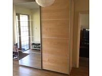 Ikea Large double Pax wardrobe height 236.4 cm sliding Oak / Mirror doors Auli/Ilseng to collect