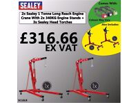 SEALEY ENGINE CRANE SC10LR 1 TONNE BULK RATE/ WHOLESALE DEAL WITH ENGINE STANDS + HEAD TORCHES
