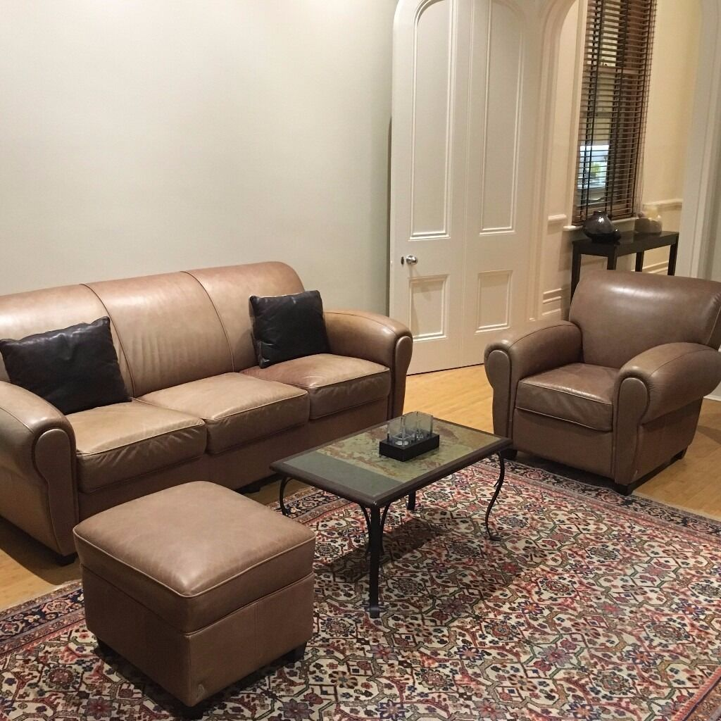 Ottoman In Living Room Brown Leather 3 Seater Sofa Armchair And Ottoman Living Room