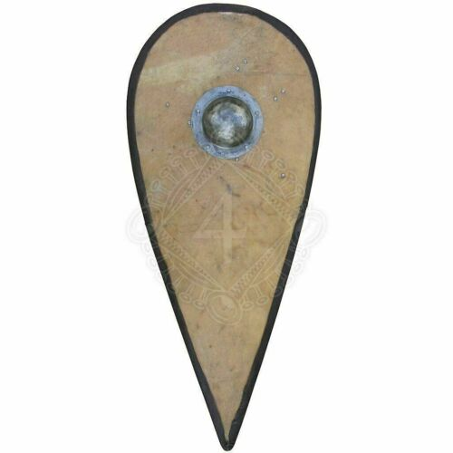 Medieval Larp Warrior Wood & Steel Kite shield Norman Templar Knight Shield Gift