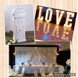 4 ft Love letters,6m Starlight backdrop & Victorian style post box
