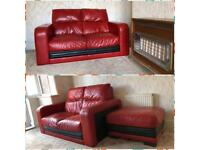 Two 2 seater sofa with foot stool+ free local delivery