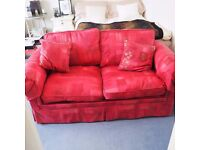 BEAUTIFUL RED 2 SEAT SOFA BED with two cushions & 2 arm covers (no mattress)
