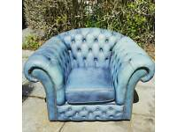 Blue chesterfield sofa and chair