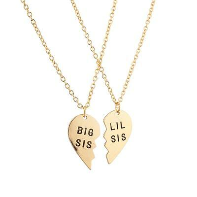 Lux Big Sis Lil Sis Little Sister Bff Best Friends Forever Necklace Set  2 Pc