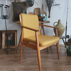 Mid century Austrian hand made chair from oak. 1940s