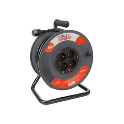 Perel Carrete de Cable 4 Enchufes 50 m Eléctrico Alargador Rollo Protección
