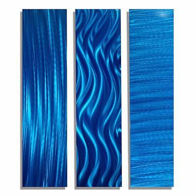 Abstract Blue Modern Metal Wall Art Accents   Blue Trilogy Ii By Jon Allen