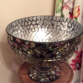 Huge heavy lass footed bowl