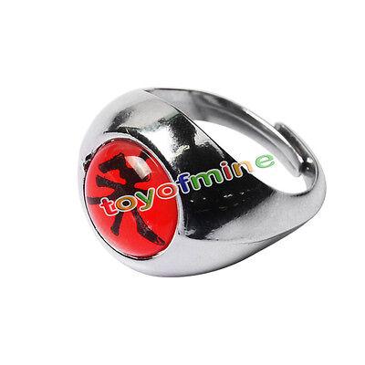Naruto Akatsuki Uchiha Itachi Zhu Ring Metal Alloy Cosplay Gift 1.9 cm
