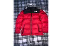 Red puffer north face jacket 14/16