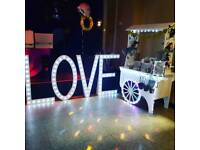 Sweet cart hire & led love sign