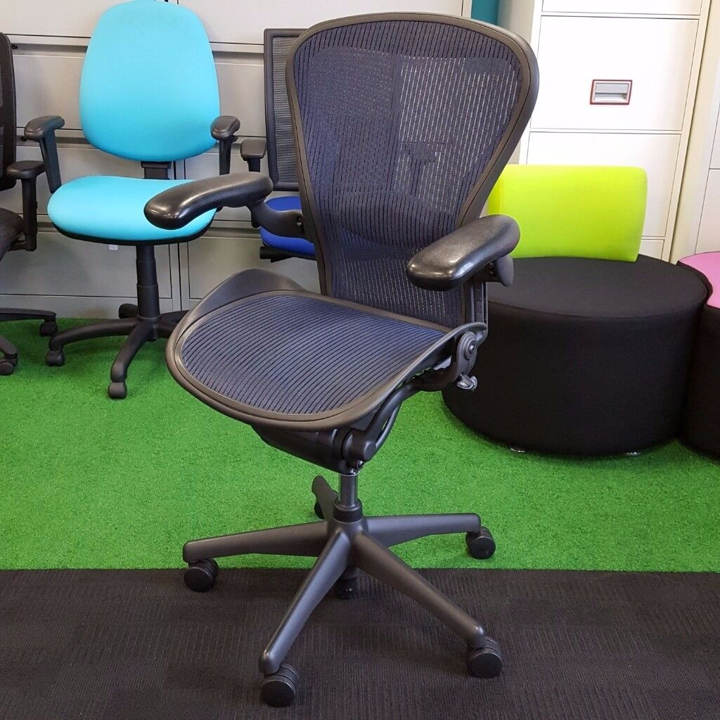 Herman Miller Aeron Chair Size B with Blue Mesh -2 available