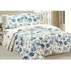 Todd Linens Queen Bedspread 3-Piece Quilt Set Soft Quilted Bedding - Microfiber Coverlet + 2 Pillow Shams (Blue Floral)