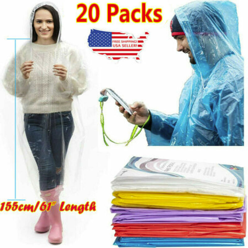 20PCS Disposable Adult Emergency Waterproof Rain Coat Poncho