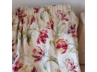 One pair Lined floral laura Ashley curtains