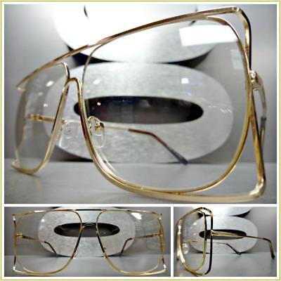 CLASSIC VINTAGE 70s RETRO Style Clear Lens EYE GLASSES Square Gold Fashion (70s Style Glasses Frames)