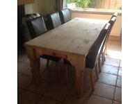 Pine table & 6 X leatherette chairs