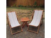 2 stripe deck chairs like new