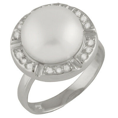 Fancy Sterling Silver ring with freshwater pearl and CZ RS-64