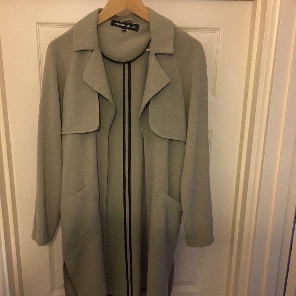 Warehouse Swing Coat / Long Cardigan, Beige, Size 8, Autumn Cover Up RRP £70+