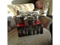 Set of saucepans boxed hardly used induction suitable