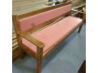 Long, wooden sofa bench seat