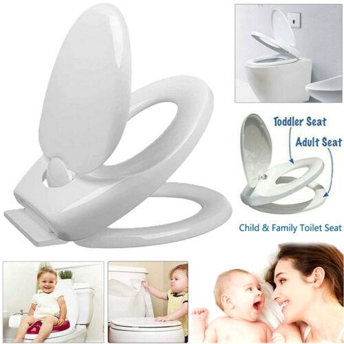 Familien WC-Sitz weiß mit Kindersitz Toilettendeckel Absenkautomatik Abnehmbar